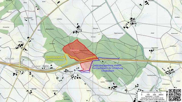 Kartenausschnitt geplante Deponie