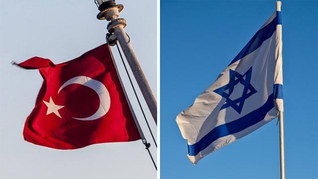 Flaggen von Türkei und Israel