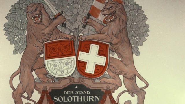 Wappen des Kantons Solothurn und Löwen im alten Kantonsratssaal.