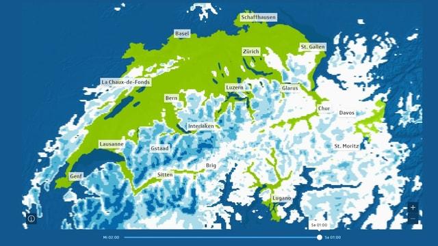 Ein Karte zeigt, wo wieviel Schnee erwartet wird.