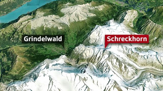 3-D-Karte mit Markierung von Grindelwald und dem Schreckhorn