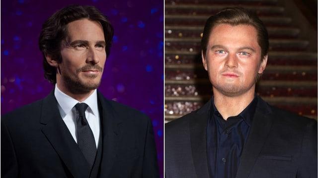 Ein Splittscreen mit den Wachsfiguren von Christian Bale und Leonardo DiCaprio