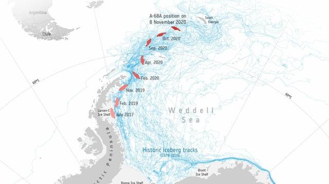 Karte, in der eingezeichnet ist, wie der Eisberg Richtung Südgeorgien treibt.