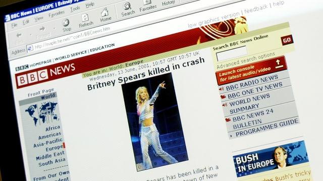 Screenshot der Meldung, unter dem roten Banner von BBC News.
