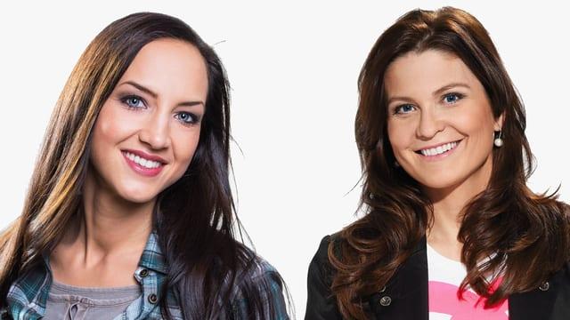 Hana Gadze und Judith Wernli: Die beiden Moderatorinnen der Sendung lachen in die Kamera.