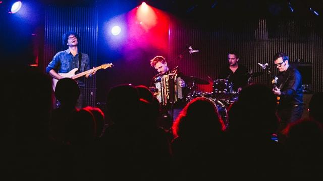 Der Akkordeonist mit seiner Band auf einer bunt beleuchteten Bühne.
