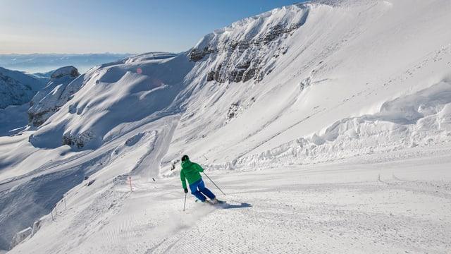 Skiabfahrt im Toggenburg