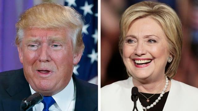 Fotomontage mit den Köpfen von Donald Trump (links) und Hillary Clinton (rechts)