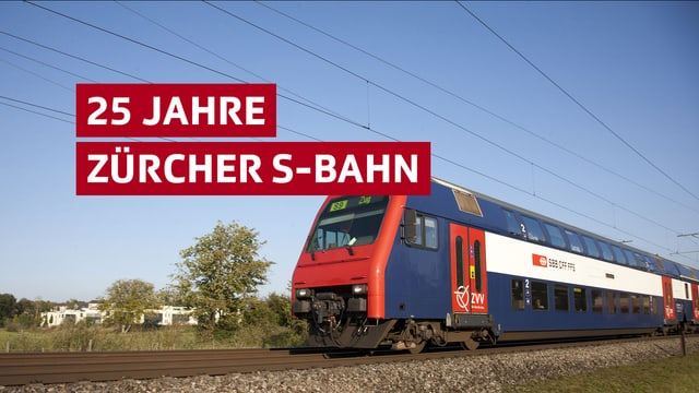 """Eine S-Bahn, darüber der Schriftzug """"25 Jahre Zürcher S-Bahn"""""""