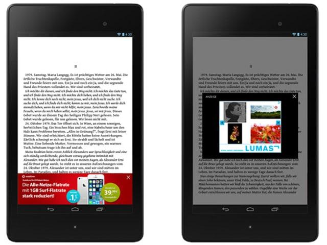 Ein E-Book, dessen Text durch Werbe-Pop-Up-Fenster verdeckt wird.