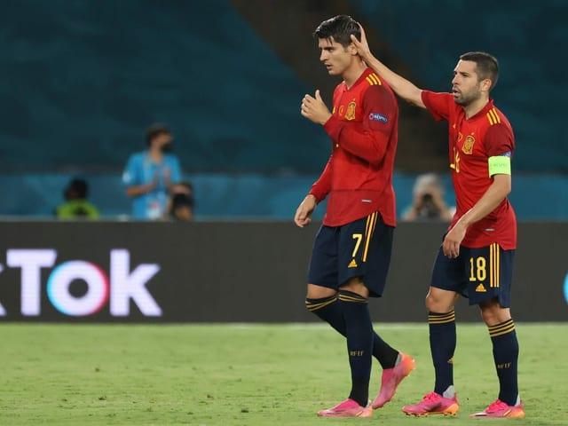 Alvaro Morata bei seiner Auswechslung gegen Schweden.