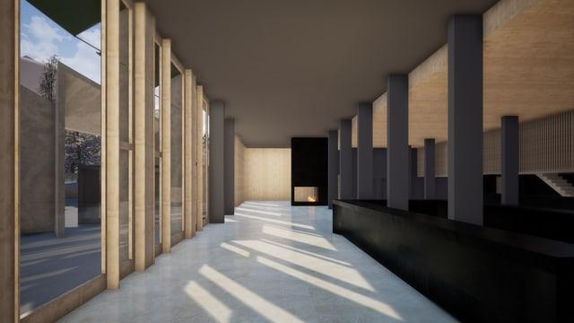 Visualisaziun da la nova surbajegiada - il foyer da l'hotel.