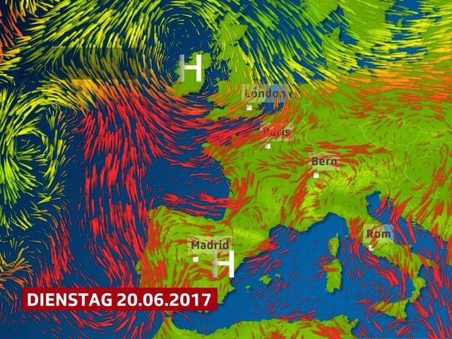 Rote Pfeile zeigen die Luftströmung rund um das mächtige Hitzehoch, es erstreckt sich von Spanien bis England.