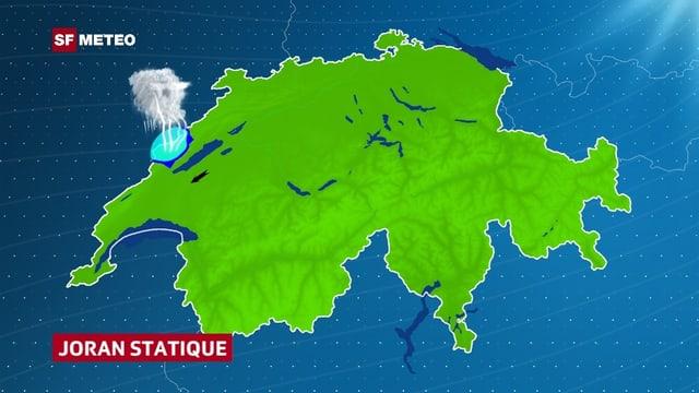 Eine Schweizerkarte. Über dem Jura ist auf einem Fleck blau Luft eingezeichnet und darüber eine Gewitterwolke. Im Mittelland zeigt ein Windpfeil schwache Bise an.