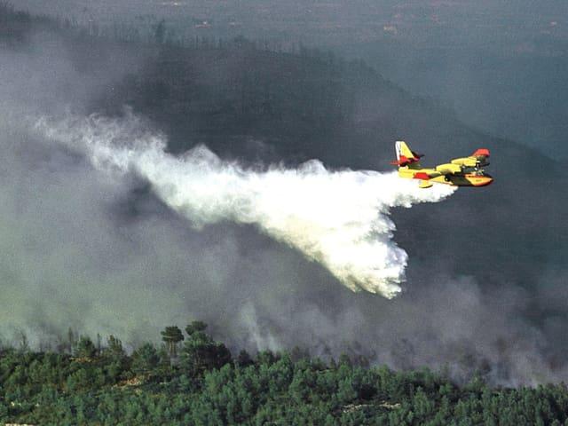 Ein Löschflugzeug versprüht Wasser über einem brennenden Wald. (Spanien)