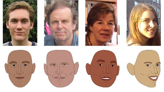 Vier Fotos und vier Zeichnungen aus den Experimenten, mit denen die britischen Psychologen Gesichter analysierten.