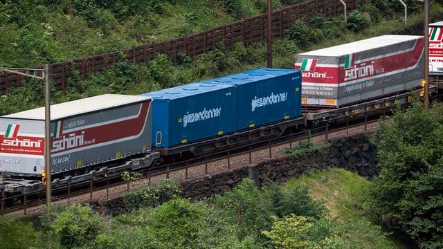 Lastwagencontainer, die auf einem Zug transportiert werden.