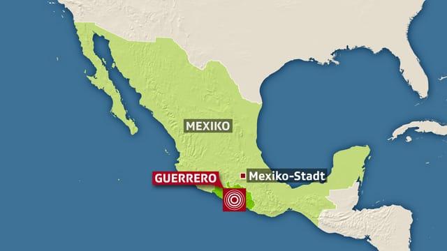Grafik von Mexiko und dem Zentrum des Bebens.