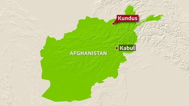 Karte von Afghanistan mit Kundus im Nordosten.