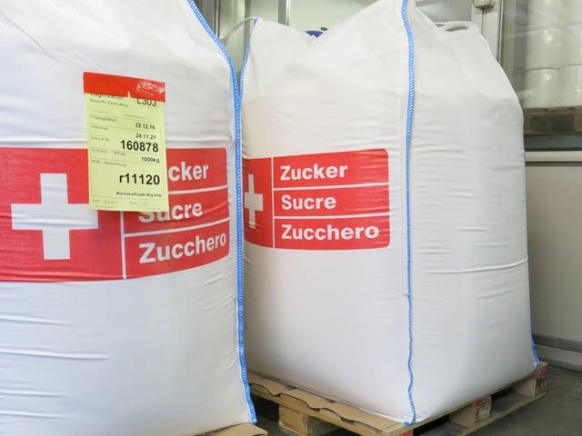 Schweizer Zucker in grossen 1-Tonne-Säcken.