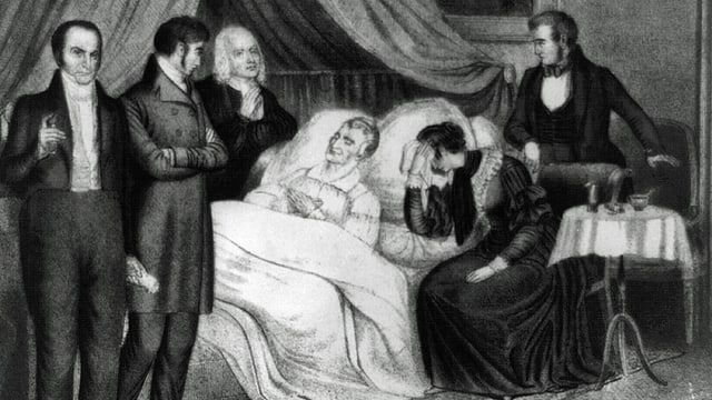 Schwarz-weiss-Zeichnung mit Willam Henry Harrison im Krankenbett