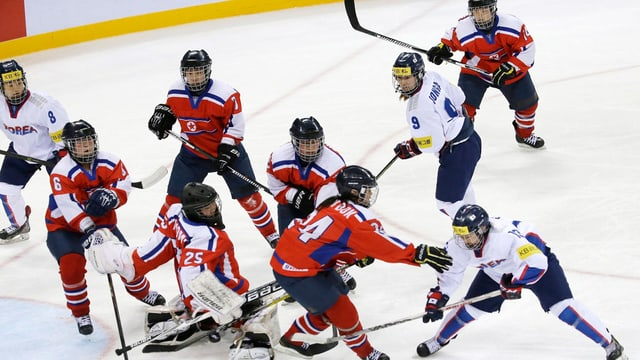 Spielerinnen aus Süd- und Nordkorea