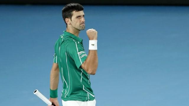 Novak Djokovic durant il turnier cunter Thiem.