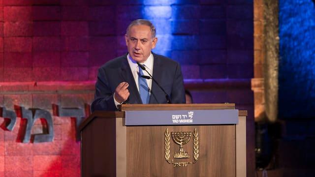 Benjamin Netanjahu während einer Rede.