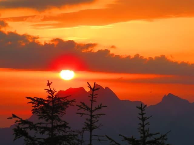 Roter Morgenhimmel mit türmchenartigen Wolken.