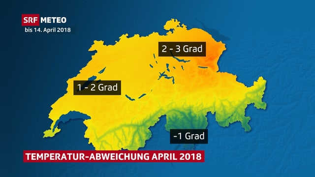 Schweizer Karte mit Temperaturabweichung im bisherigen April 2018.