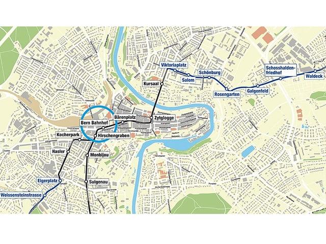 Karte neue Linienführung Tram 10.