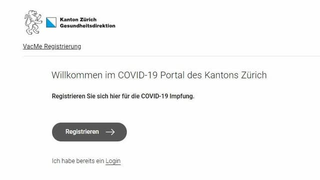 Die Startseite der Zürcher Online-Registrierungs-Plattform.