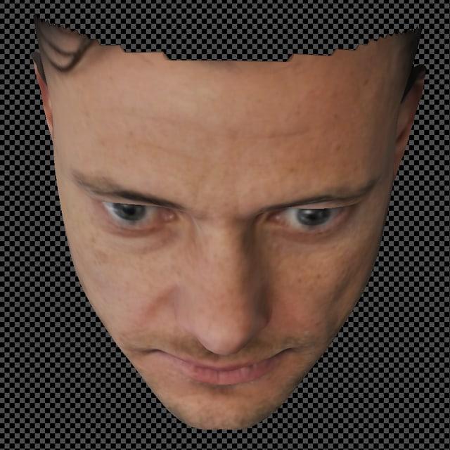 Computerbild eines Gesichtes, leicht nach vorne geneigt.