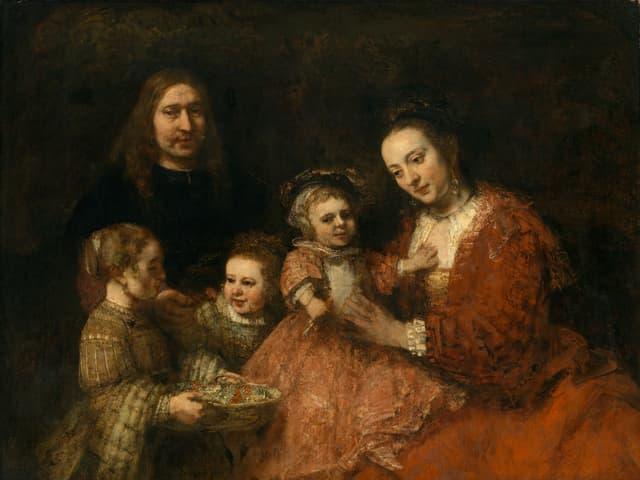 Gemälde: Eltern mit drei Mädchen.