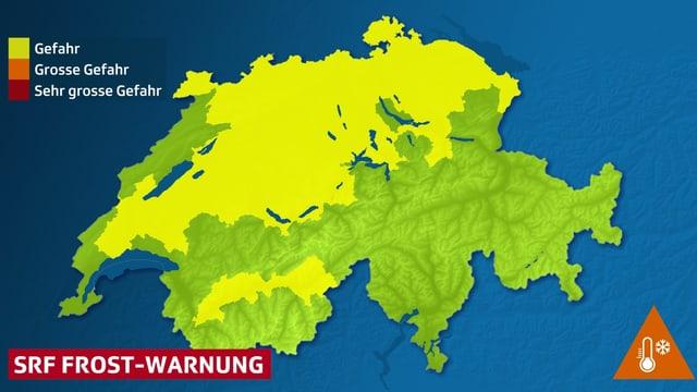 Warnkarte für Bodenfrost, Warnregionen sind gelb eingefärbt.