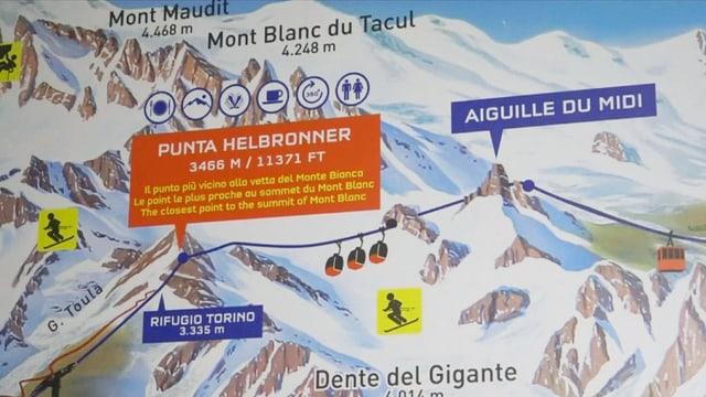 La pendiculara che collia en il massiv dal Mont Blanc l'Aiguille du Midi cun la Pointe Helbronner.