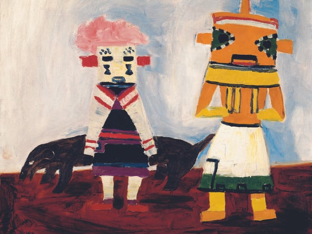 Ein Gemälde: zwei bunte Gestalten vor weissem Hintergrund.