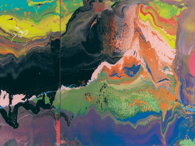 Ein Gemälde mit farbigen Kontrasten.