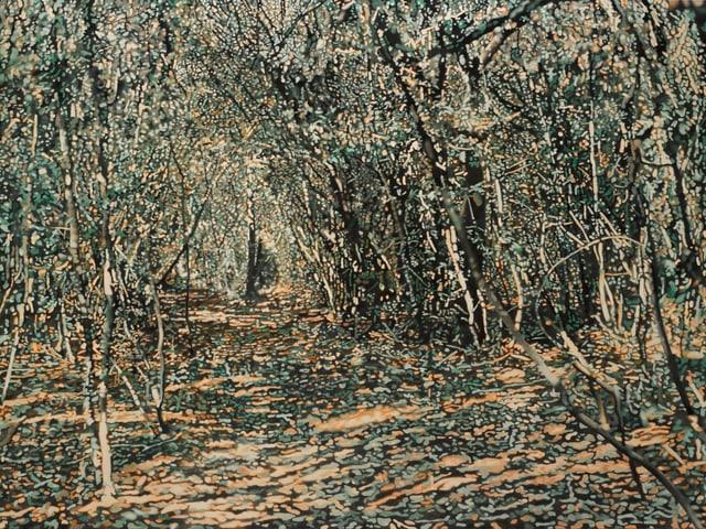 Ölbild eines Waldweges