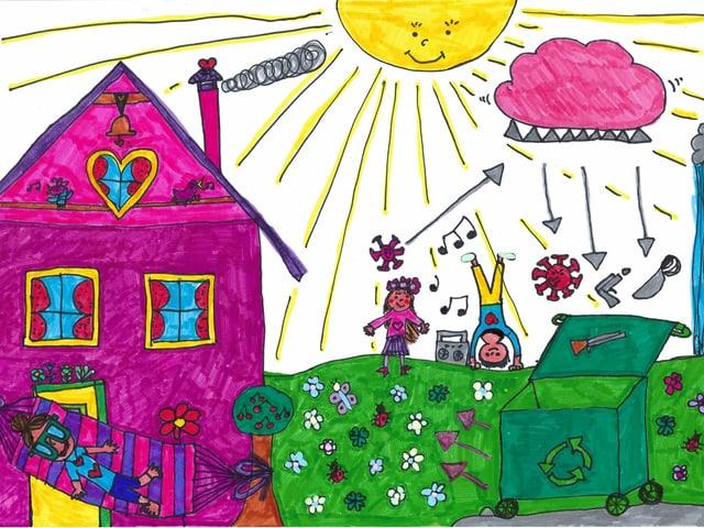 ein farbiges lila Haus mit Kindern