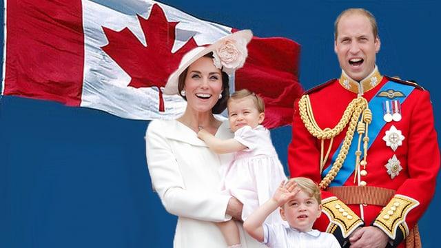 Herzogin Catherin und Prinz William mit den Kindern vor Kanadaflagge