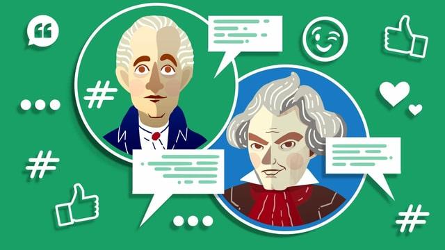 Illustration von Goethe und Beethoven