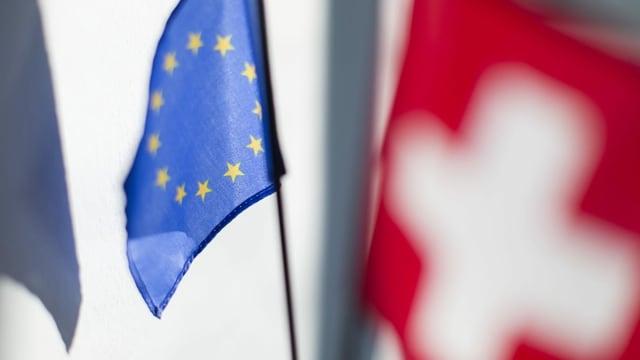 Bandieras da l'UE e la Svizra.
