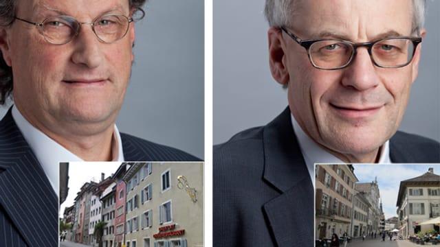 Geri Müller (links) und Kurt Flury rechts, dazu kleine Bilder der Altstädte von Baden und Solothurn.