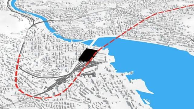 Linienführung des Durchgangsbahnhofs.