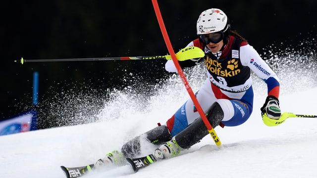 Wendy Holdener während dem Slalom auf der Lenzerheide am 15.3.14.