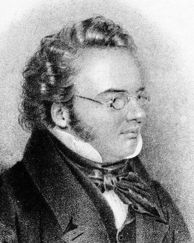 Lithographie des Komponisten Franz Schubert.