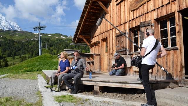 Dreharbeiten vor Der Alphütte von Otto und Chris Kaufmann