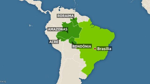 Karte von Südamerika.
