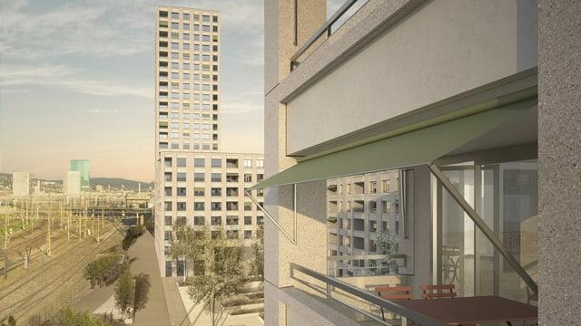 In der Siedlung Letzi sollen 265 Wohnungen entstehen, mit Alterswohnungen im 24-stöckigen Hochhaus.